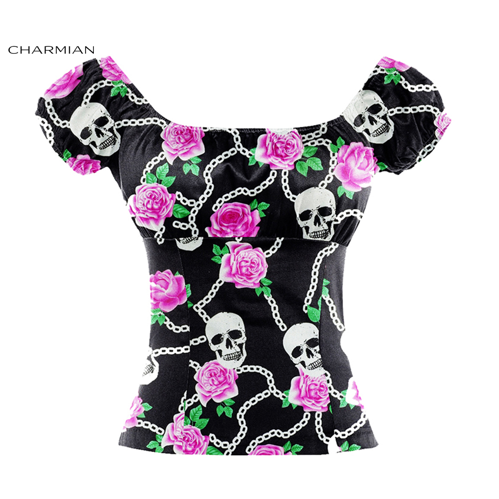 Charmian Women's Sexy Summer Off Shoulder Top Slash Neck Casual Floral Print Halloween Tops Blouses Girls Clothing