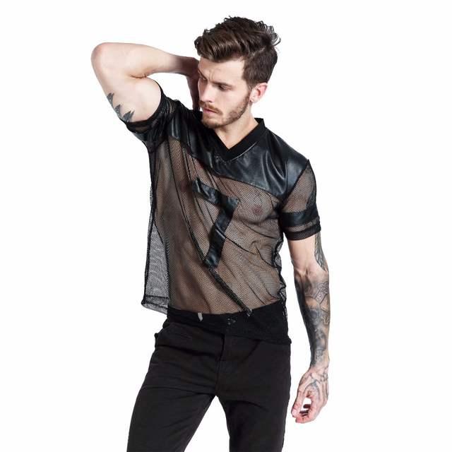 42c1a3cb5a placeholder FR Marca Faux Couro T Camisas Moda Masculina Undershirts Homens  Preto Respirável Tees Camisas De Malha