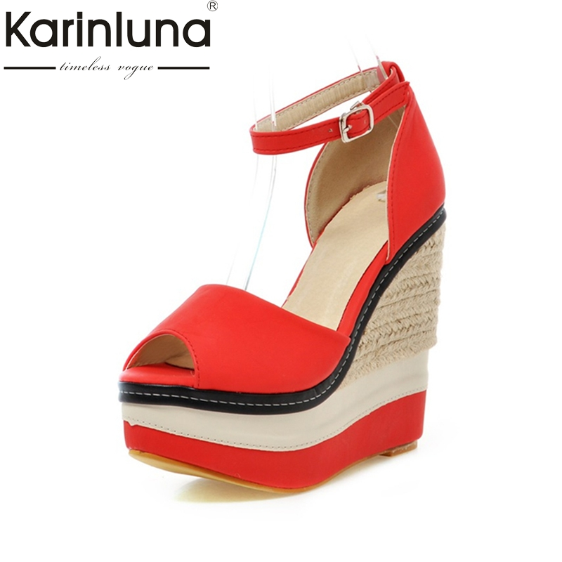 Karinluna 2018 Hot Sale Brand Shoes Patckwork Peep Toe Women Shoes Summer Sandals Fashion Wedges High Heels Woman Shoes Sandal phyanic 2017 gladiator sandals gold silver shoes woman summer platform wedges glitters creepers casual women shoes phy3323
