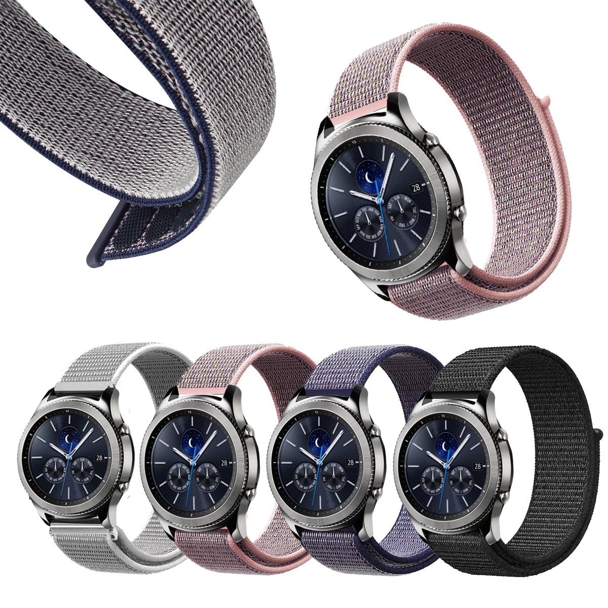 Nylon Sport For Samsung Gear S2 Watch Band Gear Sport SM-R600 / Gear S2 Classic SM-R732 & SM-R735 Smart strap