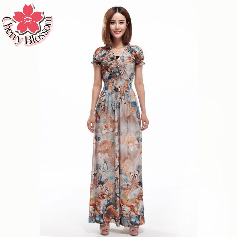 Buy Cheap 3XL-6XL Women Casual Plus Size Dress Ruffles Hem Long Beach Dresses Women Summer Dress Casual Butterfly Print Bohemian Dresses