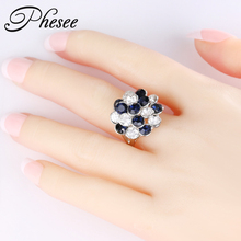 Phesee New Designs Fashion Silver Color Alloy Shiny Crystal Flower Rings Big Size Jewelry For Women Gift