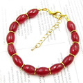 Vintage Classic Natural Stone Jewelry Fantasy Rubies  Beaded Chain  Bangle Bracelet 19cm
