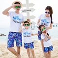 Free Shipping Summer family matching outfits clothing casual vacation mother father Daughter son kids sets t shirt Pants Shorts