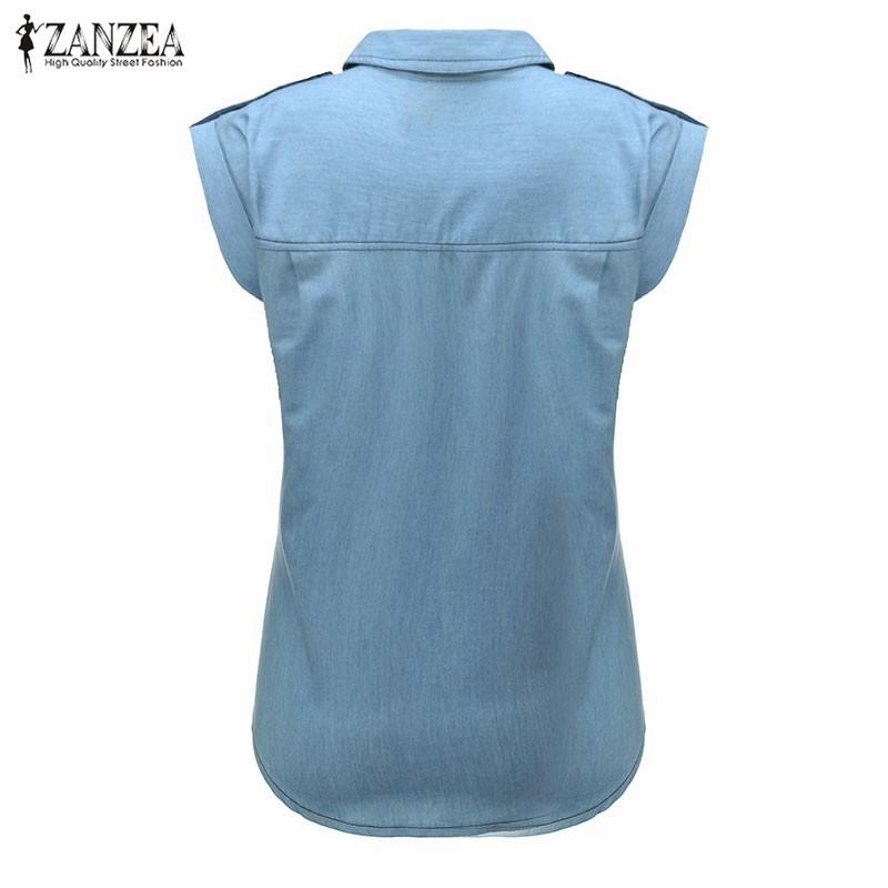 HTB1d5ycNXXXXXbiXpXXq6xXFXXX9 - Blouses Sexy Sleeveless Jeans Denim Blue Shirts Female Casual