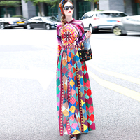 OLN 2018 Women Dress Ethnic Printed Geometry High Quality Print Dresses Floral Full Sleeve Stand Neck