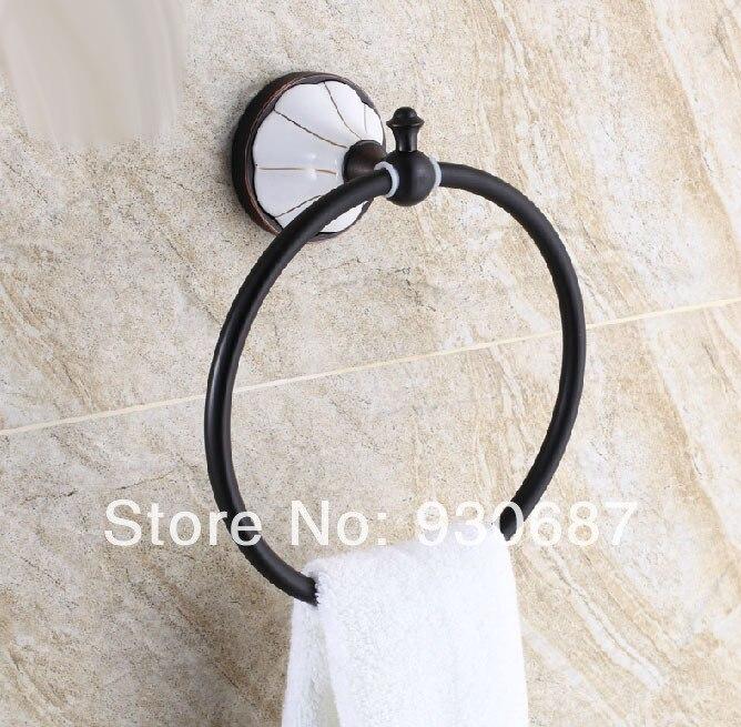ФОТО Oil Rubbed Bronze Bathroom Soild Brass Towel Rack Wall Mount Towel Rings