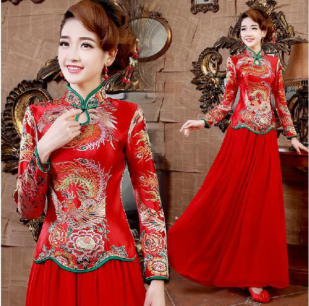 Fashionable Winter New Long Sleeve Red long cheongsam qipao dress formal  dresses chinese wedding dress traditional dress E286 aeb60407771c