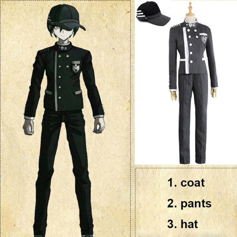 Custom Made New Danganronpa V3 Cosplay Saihara Shuichi Cosplay Costume Anime Game School Uniform Suit Outfit Coat + Pants + Hat