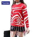 2016 Autumn New Fashion Tassel Girls Sweater Long Sleeved Zebra Stripe Knit Sweater Girl Streetwear Pull Enfant Fille Sweaters
