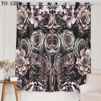 YO CHO Rose Pattern Blackout Curtains for Living Room Deco Kitchen Window curtain 3D Printed Bedroom Curtains Panel 53*96 inch
