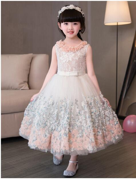 Girls Pageant Long Formal Dresses 2017 Sleeveless Gauze Gowns Lace Flowers Girls Princess Tutu Dress Kids Party Wedding Dresses cute girls fashion dress summer kid girls sleeveless belt flowers tutu princess party dresses ball gown kids dresses