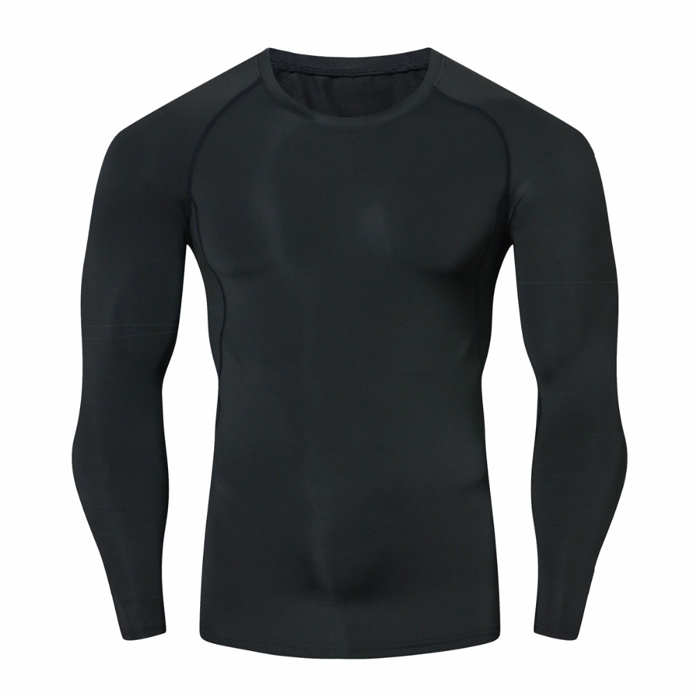 Mens Compression T Shirt Bodybuilding Skinny Tight Long Sleeve T-Shirt Fashion Fitness Clothing MMA Crossfit Workout Sportswear
