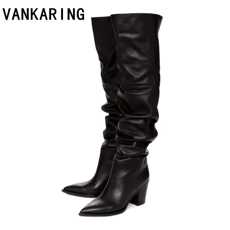 new brand designer sexy high heels autumn winter over the knee high boots woman pointed toe warm snow leather cowboy women shoes