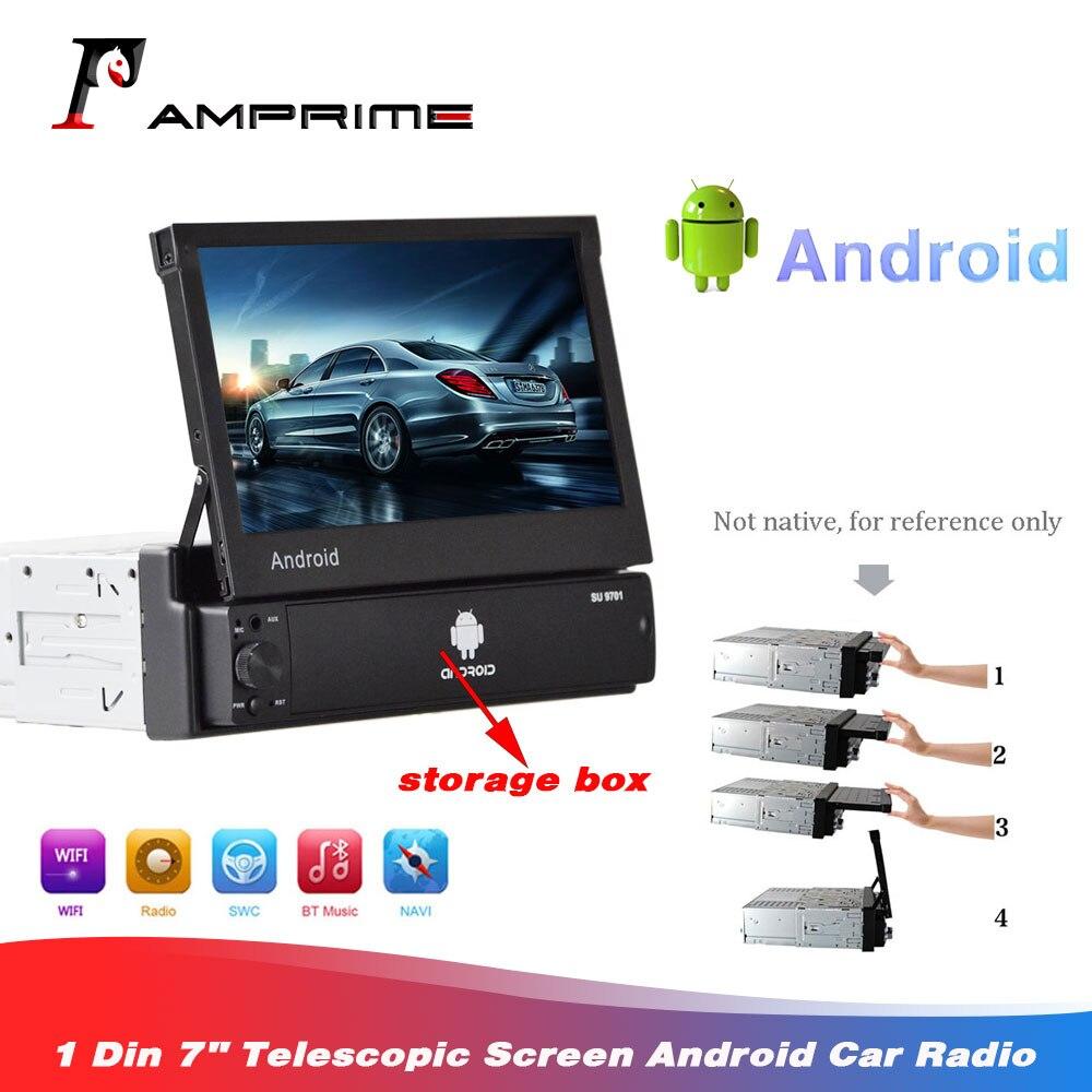 Autoradio Android AMprime 1 Din 7 ''écran télescopique lecteur multimédia de voiture GPS Wifi MP5 Bluetooth Radio FM stéréo