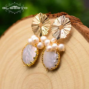 Image 3 - GLSEEVO Natural Fresh Water Baroque Pearl Earrings For Women Plant Leaves Dangle Earrings Luxury Handmade Fine Jewelry GE0308