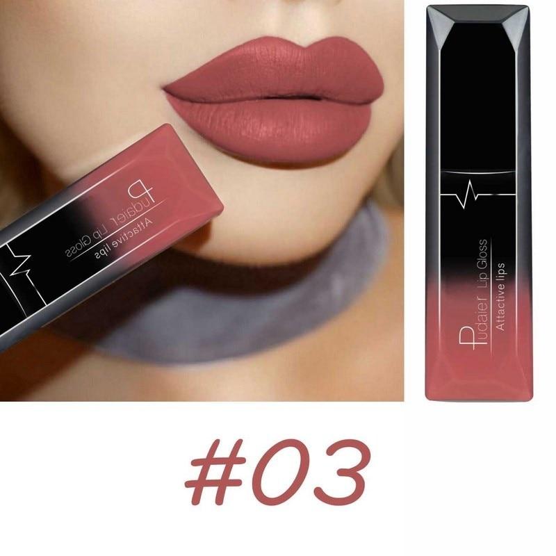 PUDAIER Waterproof Velvet Liquid Lipstick Sexy Red Lip Tint 21 Colors Make up Long Lasting maquiagem Matte Nude Glossy Lipgloss 1