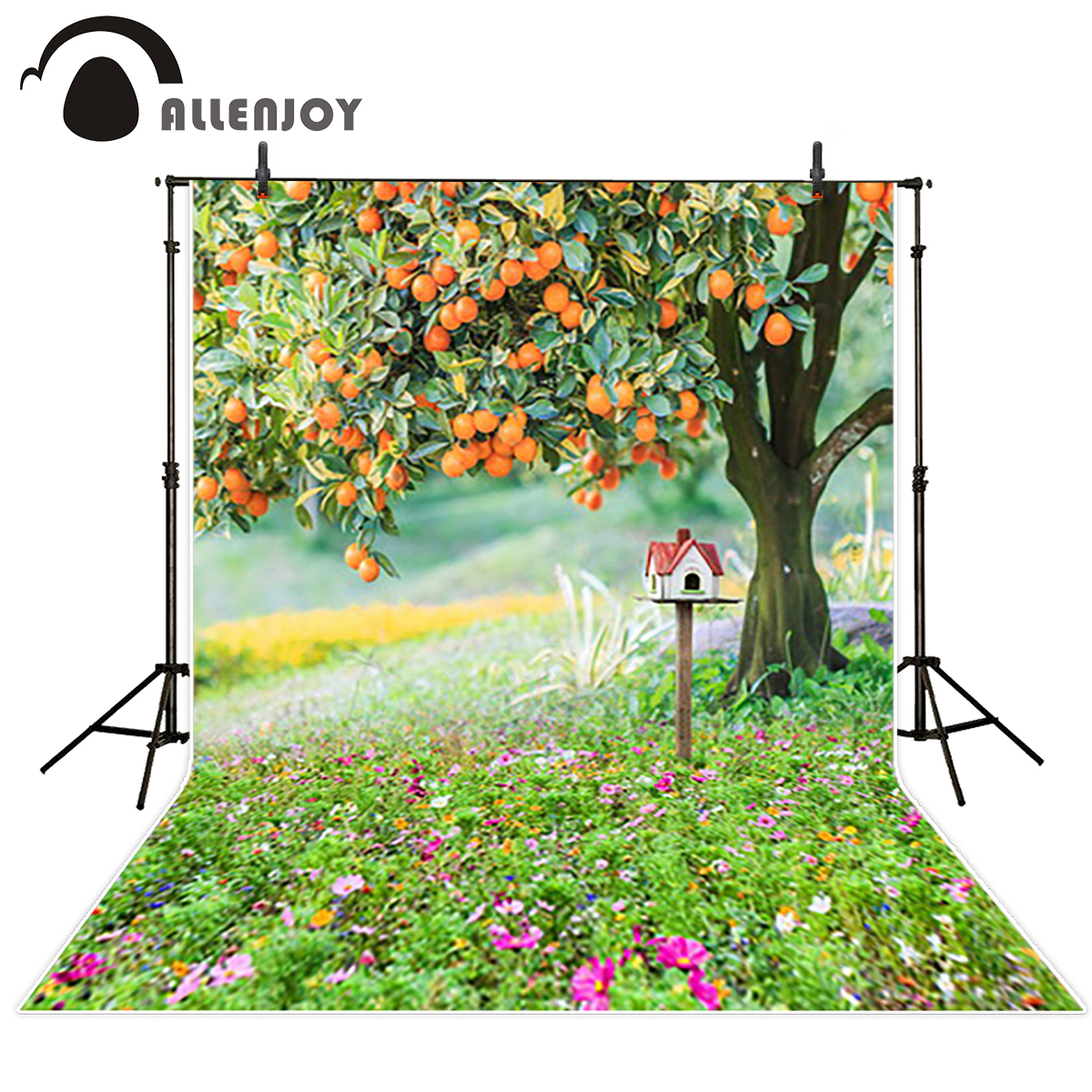 Allenjoy background for photographic studio Green Grassland Oranges tree photographic camera backdrop vinyl new arrivals blood oranges