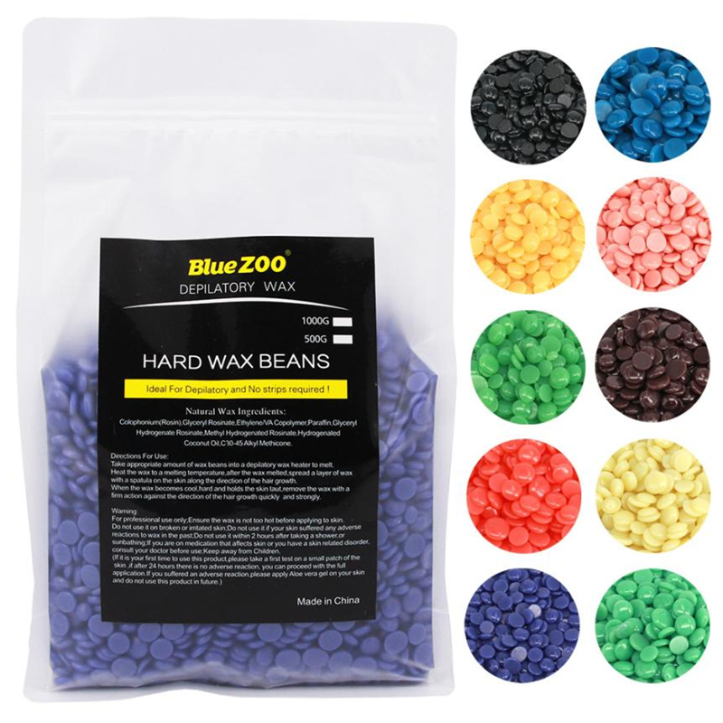BlueZoo Hard Wax Beans 1000g No Strip Depilatory Hot Film Hard Wax Pellet Waxing Bikini Hair Removal Bean Hair Removal Cream 250g hair removal cream epilator 10 flavour no strip depilatory hot film hard wax pellet waxing bikini hair removal bean