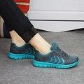2016 Más Nuevo Estilo del Verano Ligero Mujeres Caminando Malla Zapatos de Lona Ocasionales de Las Señoras Resbalón En Los Zapatos Planos Transpirable Tenis Feminino