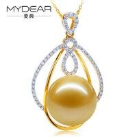 MYDEAR Women Pearl Necklace Luxury Natural 14.9mm Southsea Pearl Pendants Gold Diamond Pendants,Big Golden Pearls Making Jewelry
