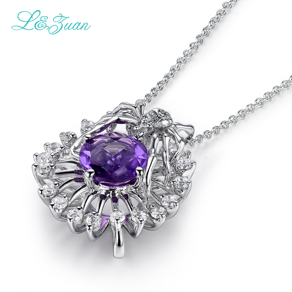 bizuteria 925 sterling silver natural snowflake1.64ct Amethyst purple stone Necklace & Pendant for woman gift with silver chain