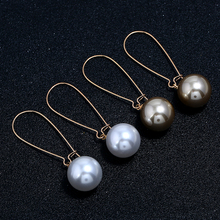 HOCOLE New Baroque Matte Pearl Drop Earring Gold Natural Freshwater Ball Long Earrings birthday gifts for Women Girl