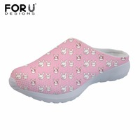 FORUDESIGNS 2018 Rabbit Pattern Women Casual Slippers Fox Owl Ladies Summer Flat Shoes Sandals Girls Home Breathable Mesh Shoes