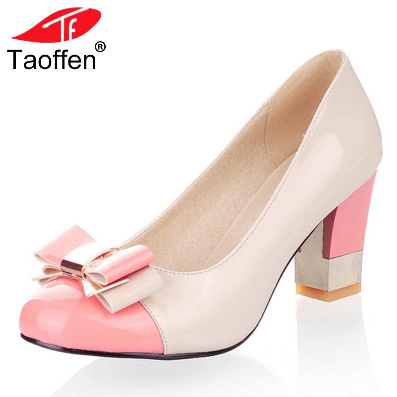 TAOFFEN Plus Size 34-43 Hot Candy Color Women Pumps Shallow Color Block Thick High Heels Shoes Bowtie Pink Working Shoes P11129 plus size oblique zipper color block hoodie