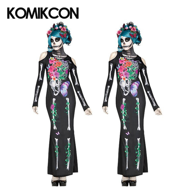 3047caee6d4 US $24.99 |Mexico Day of the Dead Dress Horror Skull Pattern Halloween  Flower Fairy Ghost Bridal Mermaid Dresses Masquerade Party Dress-in Dresses  ...
