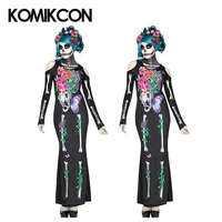 Mexico Day of the Dead Dress Horror Skull Pattern Halloween Flower Fairy Ghost Bridal Mermaid Dresses Masquerade Party Dress