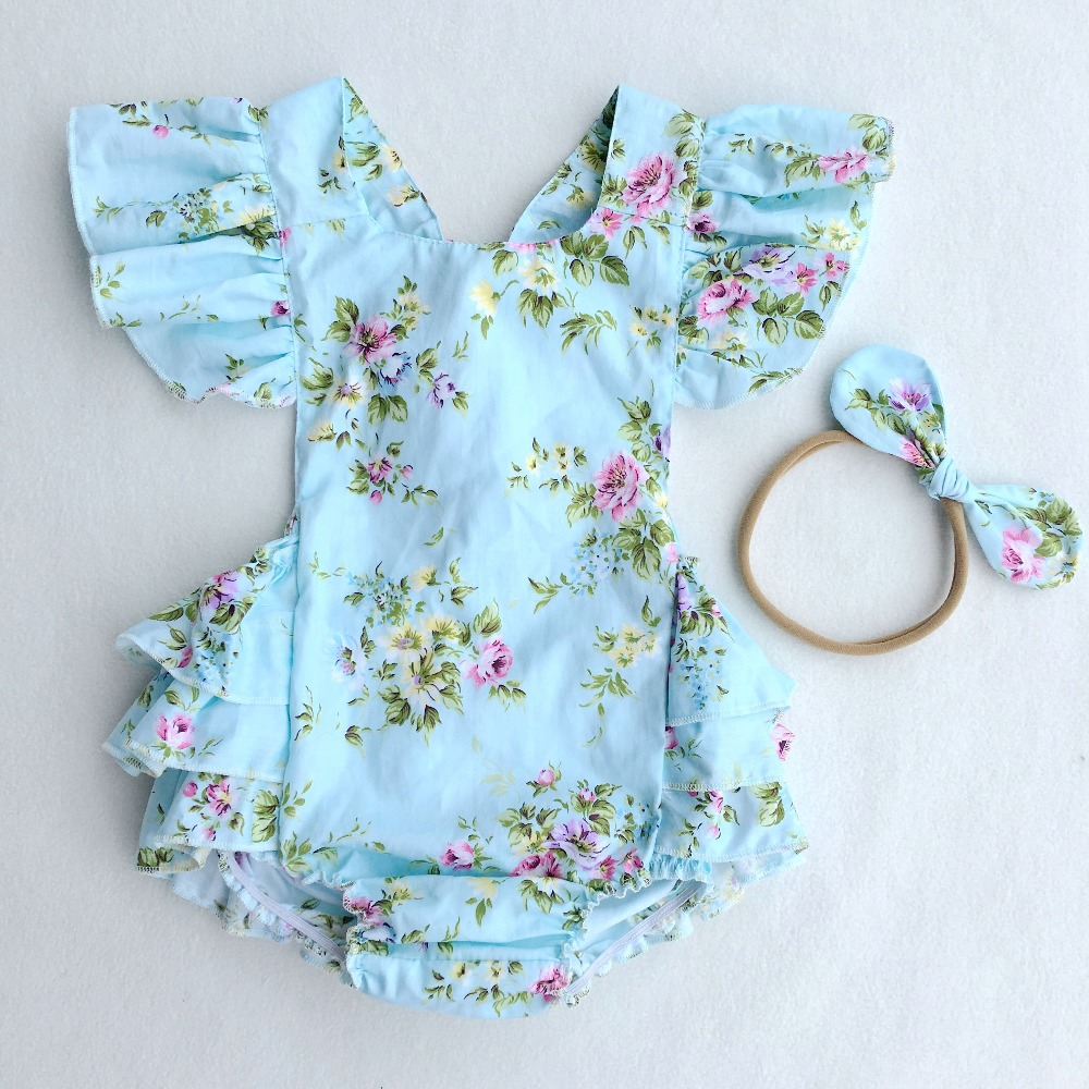 Newborn floral baby rompers Cotton ruffle baby jumpsuits girl romper Costume Overalls girls Clothes Photo Props With Headband girls ruffle trim top and overalls set with headband