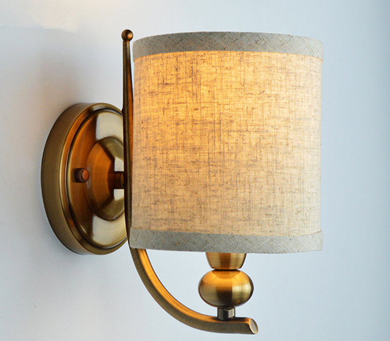 LOFT American Wrought Wall Lamp Copper body Fabric Lampshade Sconce Lamparas Luminaria E14 Blub reading light Bedside lamp