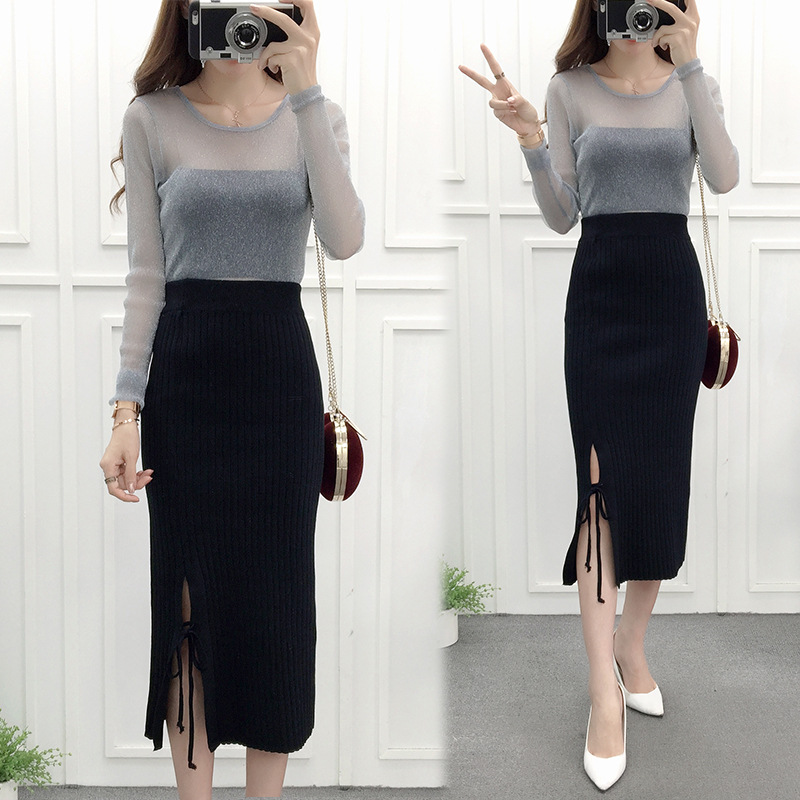 2018 New Fashion Ol Straight Sweater Skirt Women Knee Length Lace Up Skirts Office Lady Free Size In From S Clothing