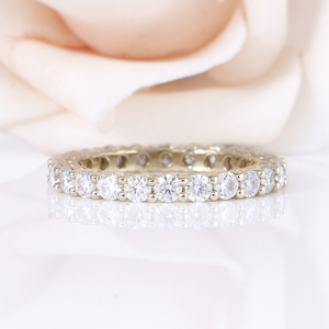 Image 3 - DovEggs Classic 10K Yellow Gold 2.5mm Moissanite Eternity Wedding Band for Women Gift Ladies Stackable Gold Wedding Ring