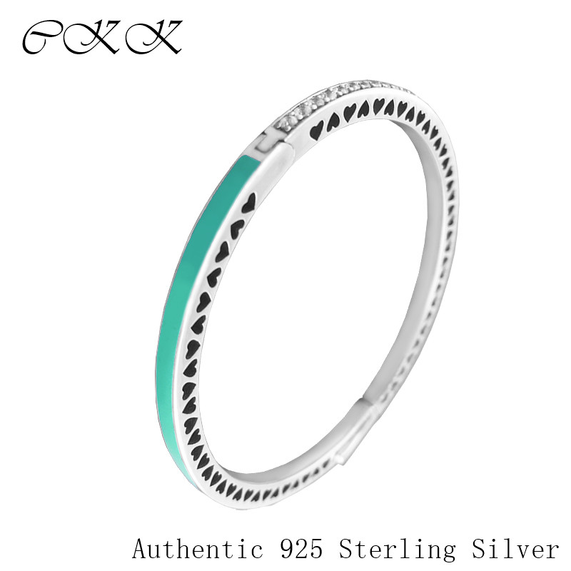 100% 925 Sterling Silver Radiant Hearts Signature Bangle ,Bright Mint Enamel & Clear CZ Bangle Bracelets for Women Gift PFB042100% 925 Sterling Silver Radiant Hearts Signature Bangle ,Bright Mint Enamel & Clear CZ Bangle Bracelets for Women Gift PFB042
