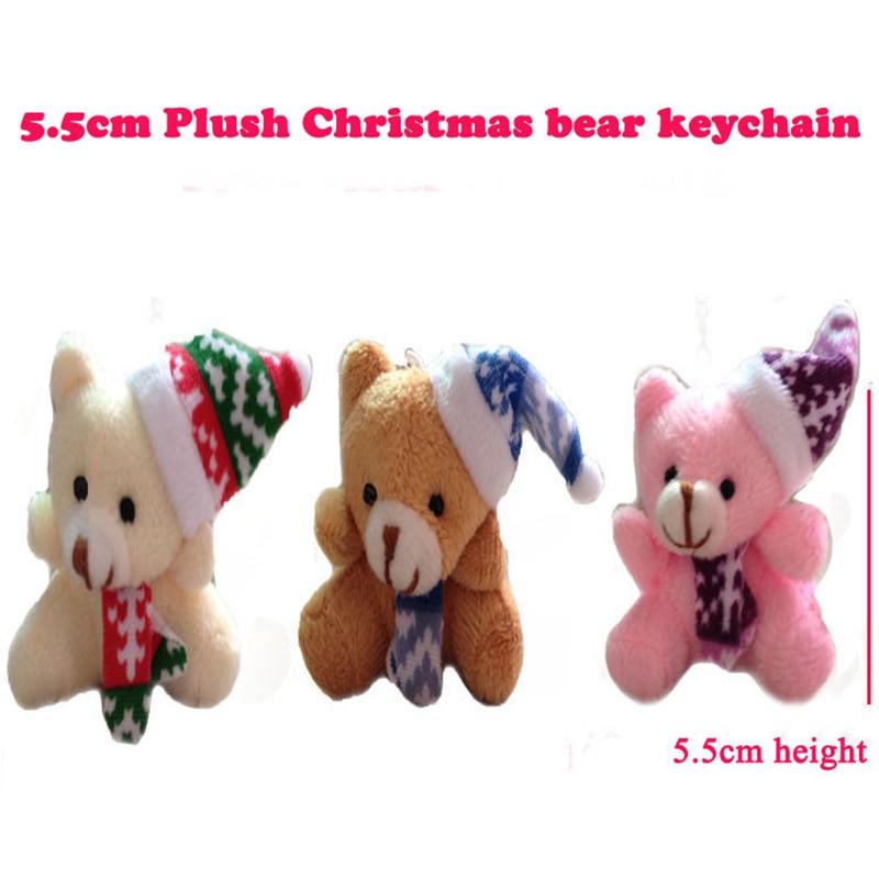 1Pcs lovely mini Christmas bear Plush Toys Mobile phone wallet bag key chain pendant Bouquet Decor neck roll doll Christmas gift