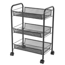 3 Tiers Mesh Shelf Rolling Wheels Kitchen Metal Trolley Cart Hair Salon Storage Rack Black Iron for Beauty Salons Hair Salons(China)