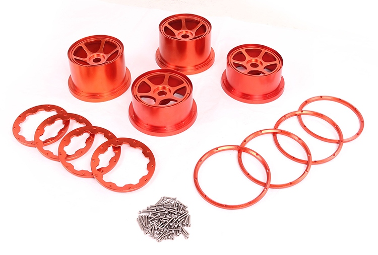 CNC  Baja 5B Alloy Wheel Set hub set for 1/5 HPI Baja 5B Parts Rovan KM 2 rear and 2 fronts wheel hub baja alloy rear bumper orange color for hpi km rovan 1 5 baja 5b 851241