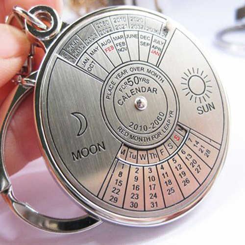 50 anos Calendário Perpétuo Chaveiro Alloy Chaveiro Anel Keyfob Chaveiro de Prata