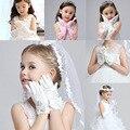 Мода Дети Стрейч Атласа Длинные Перчатки Пальцев Свадебный Цветок балет танец Детские Партия Розовый и Белый дети принцессы перчатки