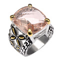 Shiny Morganite 925 Sterling Silver Ring Factory price For Women Size 6 7 8 9 10 11 F1487