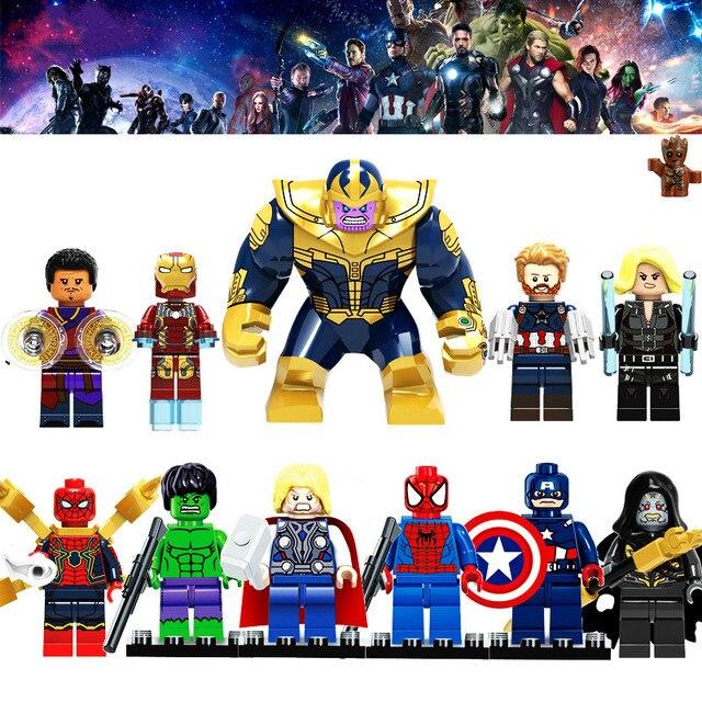 LEGOINGLY Super Heróis Blocos de Construção figuras Hulk Batman Capitão América Vingadores Marvel Thanos Compatível Com Legoed brinquedos