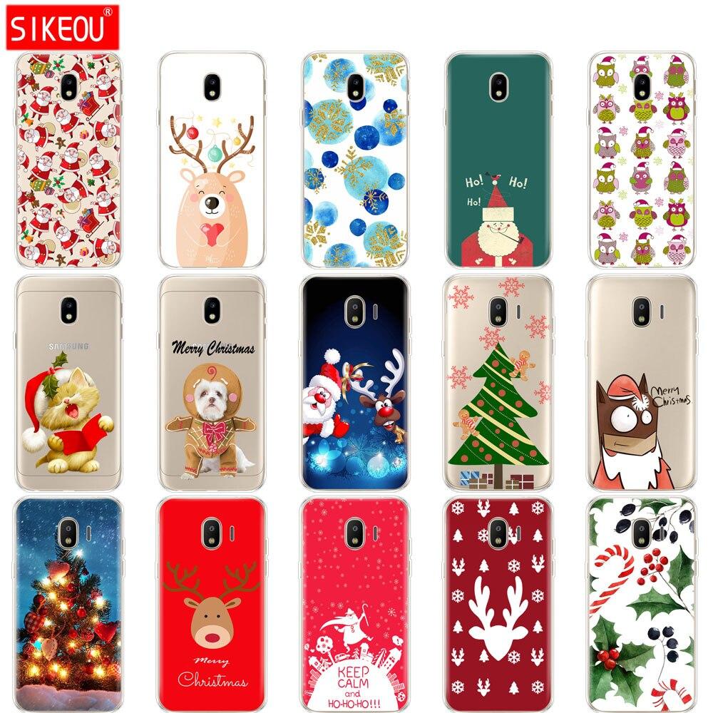 f34efed72d150f silicone cover phone case for Samsung Galaxy J3 J5 J7 2017 J330 J530 J730  PRO j2 2018 Santa Claus Merry Christmas tree
