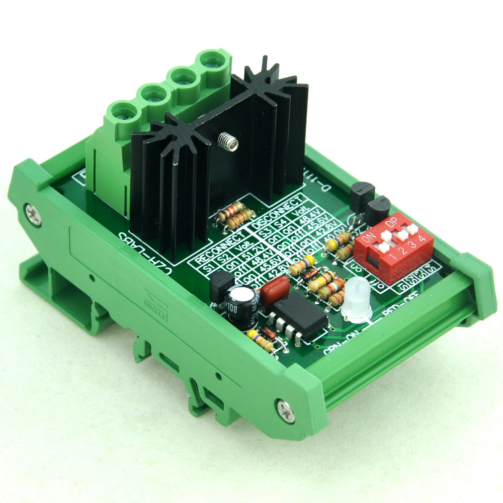 DIN Rail Mount Low Voltage Disconnect Module LVD, 48V 30A, Protect Battery.