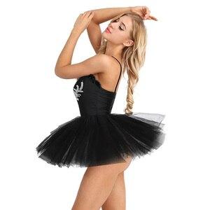 Image 3 - TiaoBug נשים בלט טוטו בגד גוף שמלה לבן שחור ברבור תחפושת בלט בגדי גוף למבוגרים שרוולים נצנצים שלב ריקוד תלבושות