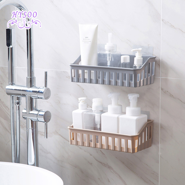 Free Punching Bathroom Shelf Accessories Toilet Plastic Wall Storage Rack Scaffolding