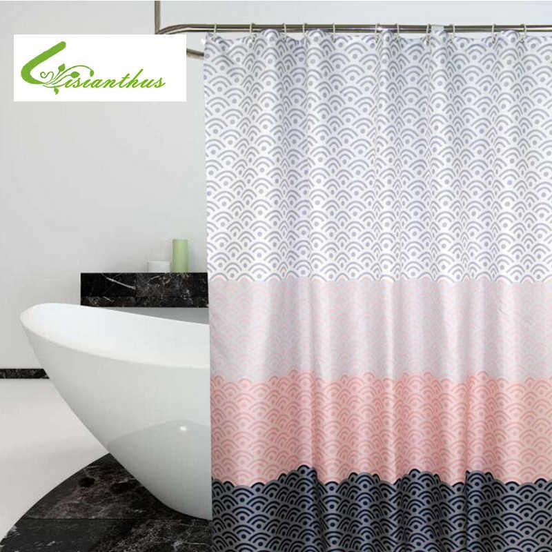 Современная Геометрическая занавеска для душа водостойкая полиэфирная ткань занавеска для ванной комнаты для украшения ванной комнаты с пластиковыми крючками