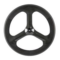 Fashion Design Carbon Fiber T700c Clincher 70mm Glossy Finish 3 Spoke Carbon Wheel For Road Bike