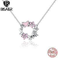 Hot Sale Romantic Necklace Jewelry 925 Sterling Silver Pink Butterfly Flower Wreath Round Pendants Necklaces Jewelry